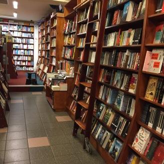 Books on shelves in shop